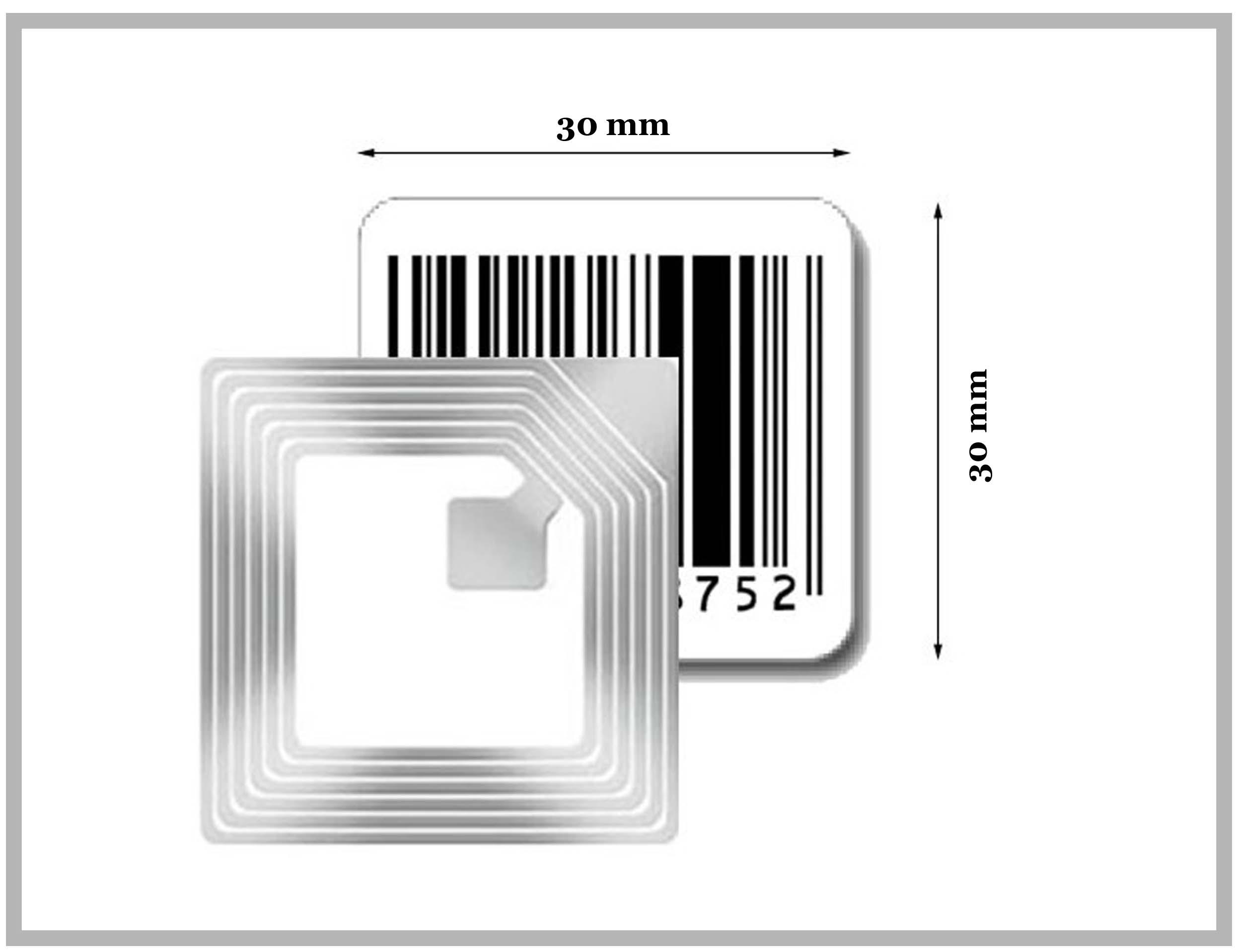 RF Label 30x30mm avec code barre