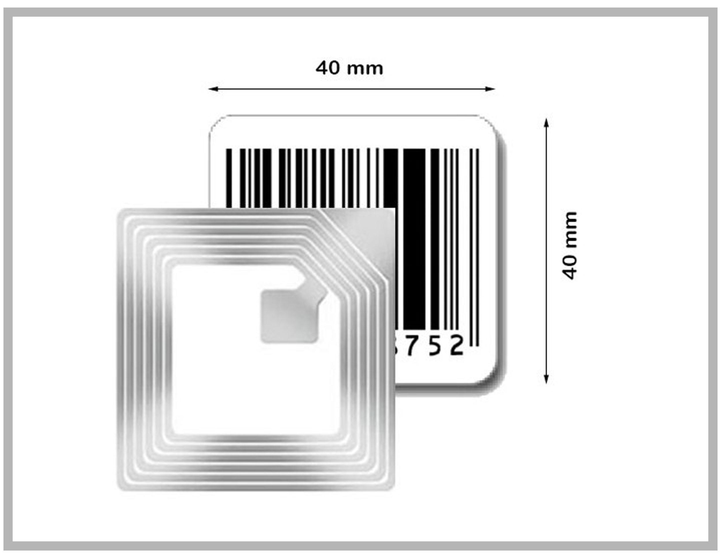 RF Label 40x40mm avec code barre